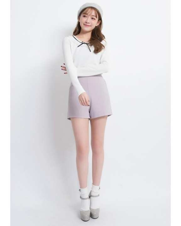 YOCO High Waisted Shorts-Light Grey