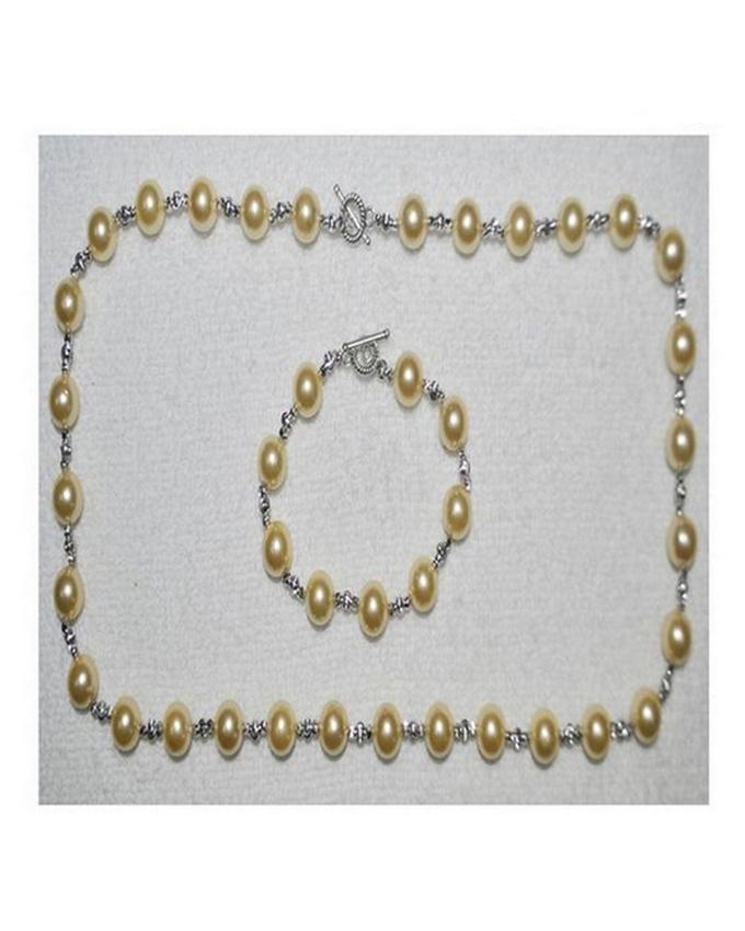 November Angel Gold Pearls 925 Coated Jewellery Set - 10 Size