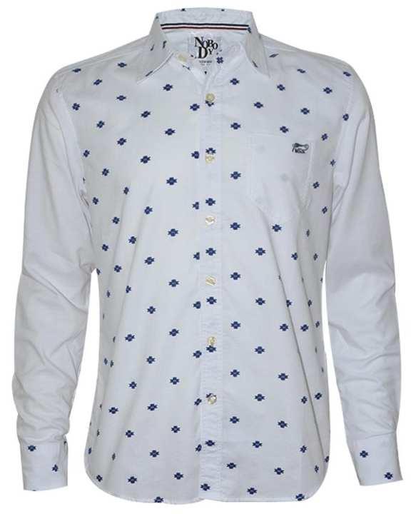 NOBODY Men Shirt-Long Sleeve-White