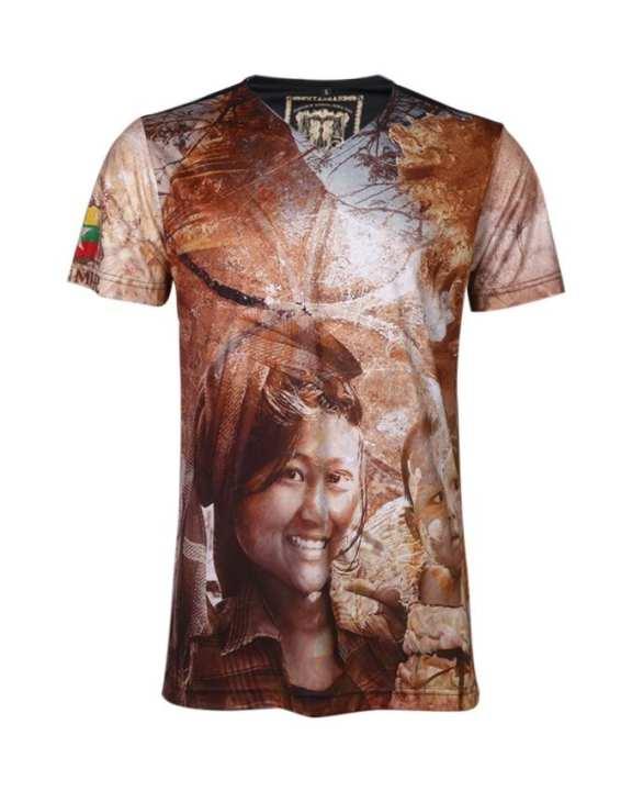 VESTIGE Body Fit Printed T-shirt – Brown