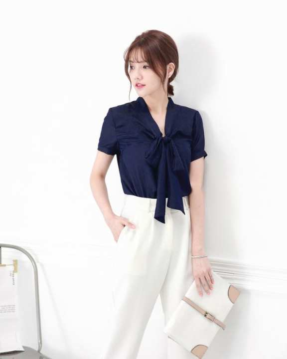 MAYUKI Lace Top with Front Ribbon Tie-Dark Blue