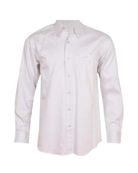 Crocodile Men's Long Sleeve Shirt with Front Pocket - White