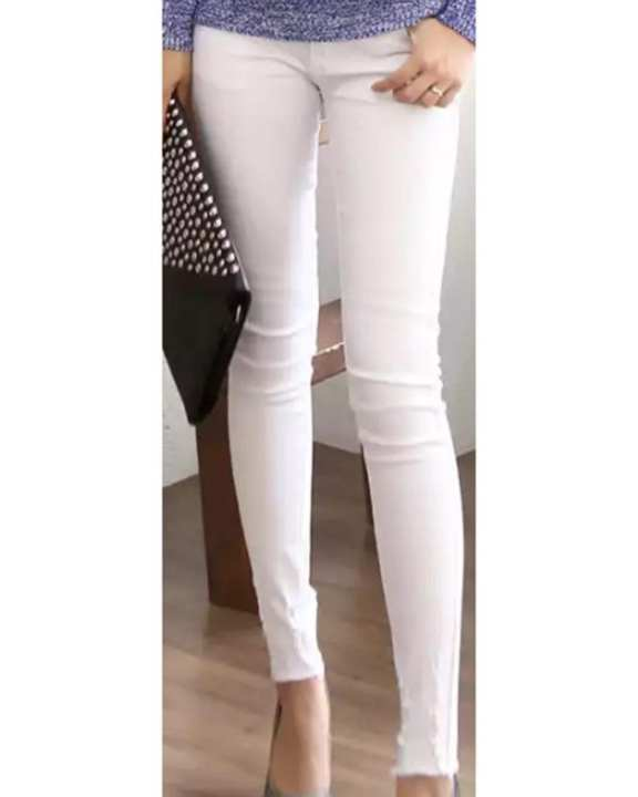 Cocotrend Women's Vertical Cut Skinny Jeans - White