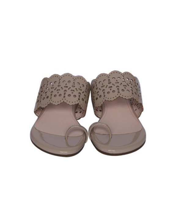 Women's Low Heeled Flat Sandals - Sand
