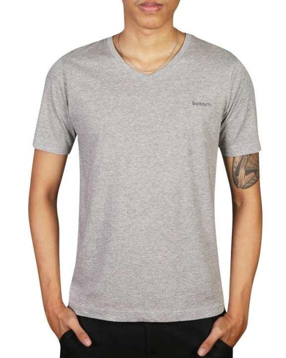 Bossini Men's Wear V-shaped Neckline Short Sleeve T-shirt - Grey