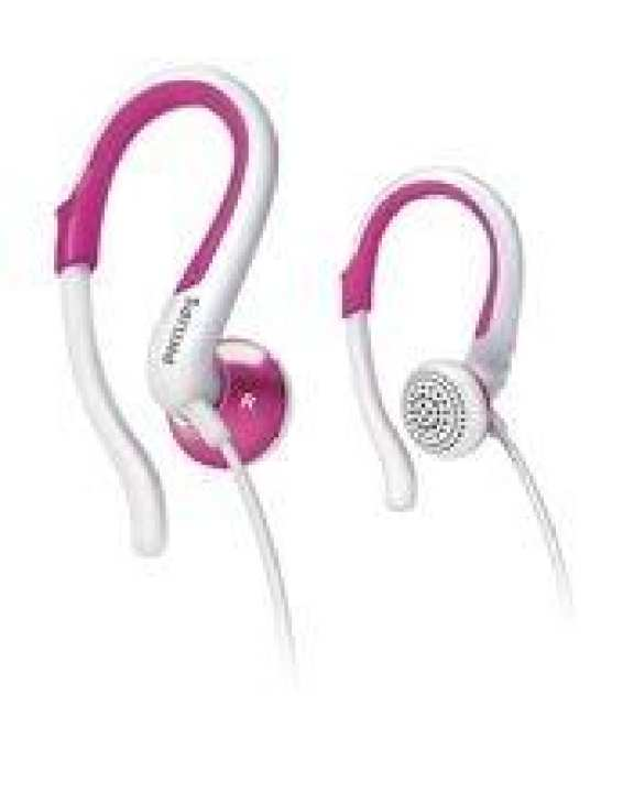 Philips SHS4848 Earhook Headphones - White/Hot Pink