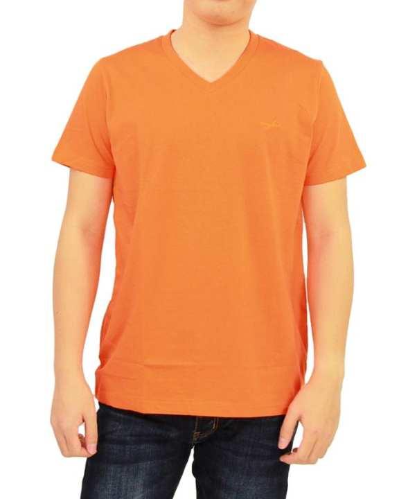 Comfort Fashion V-shape Neck Short Sleeve T-shirt - Orange