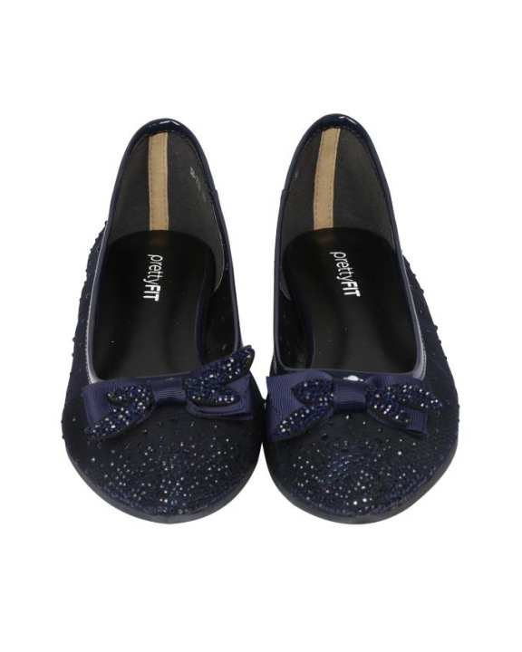 Women's Flat Ballerina Shoes with Ribbon  - Navy