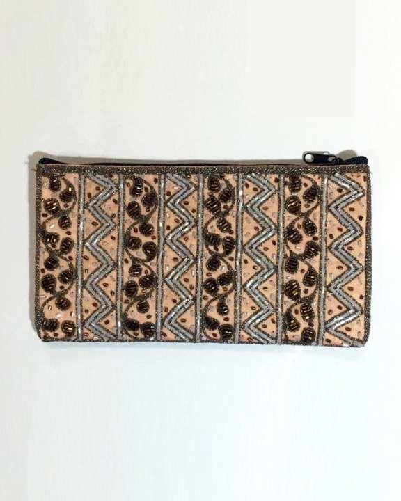 Three Seasons Myanmar Traditional Design Zipped Hand Bag - Beige