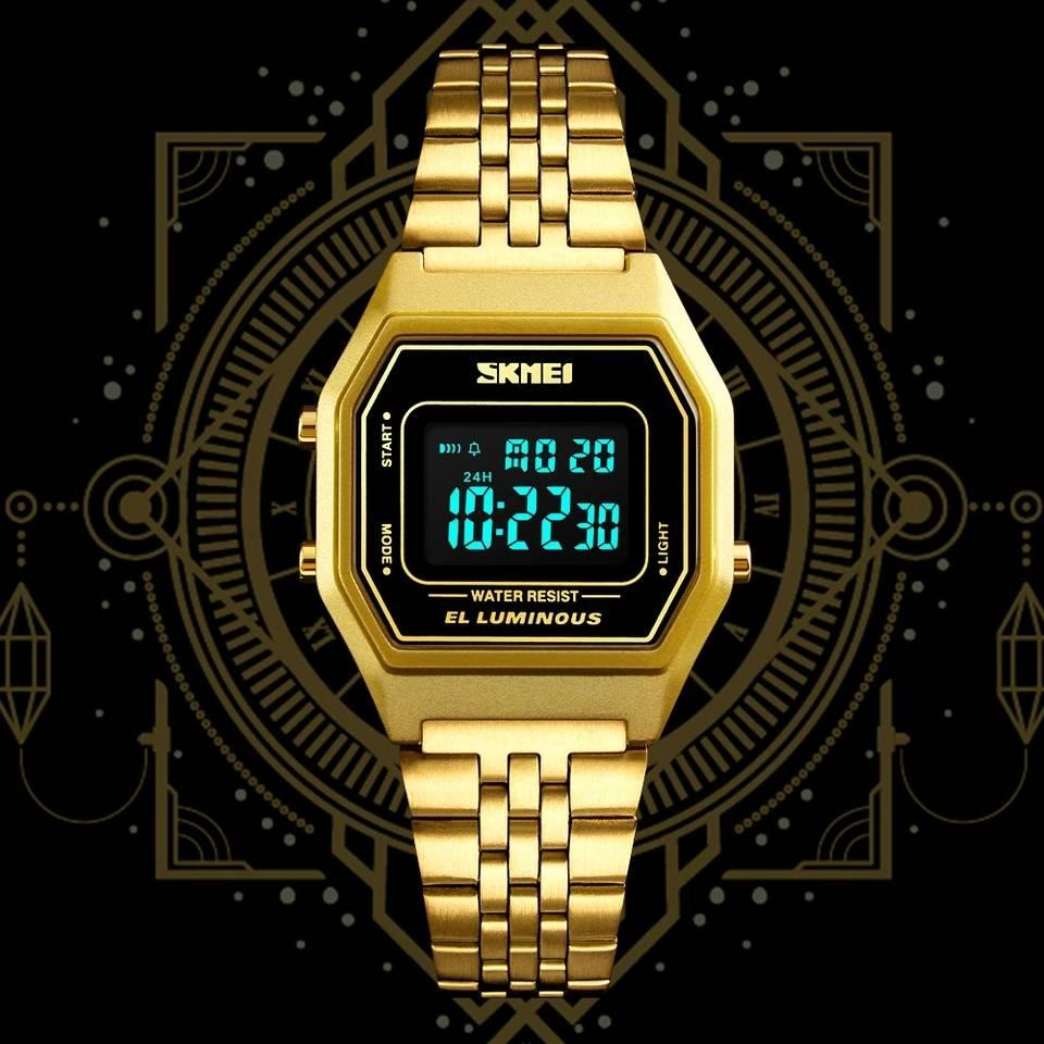A N SKMEI 1345 Womens Watches Business Time Stainless Steel Digital Sports  Wristwatch Waterproof Relogio Masculino 976a2fc4fc