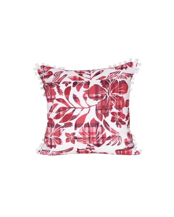 "The Cushion Factory Red Flora Cushion Cover (16""X16"")"