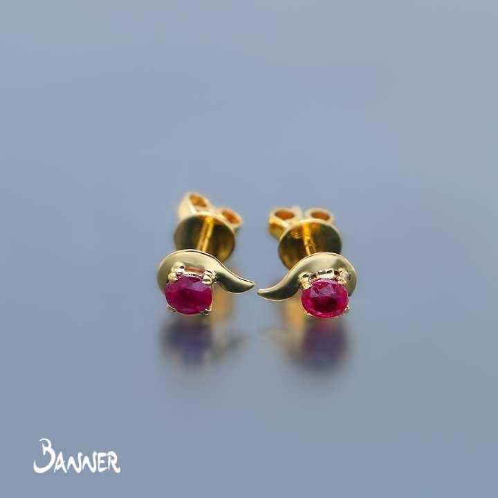 Mandalay Min Ruby Solitaire Earrings
