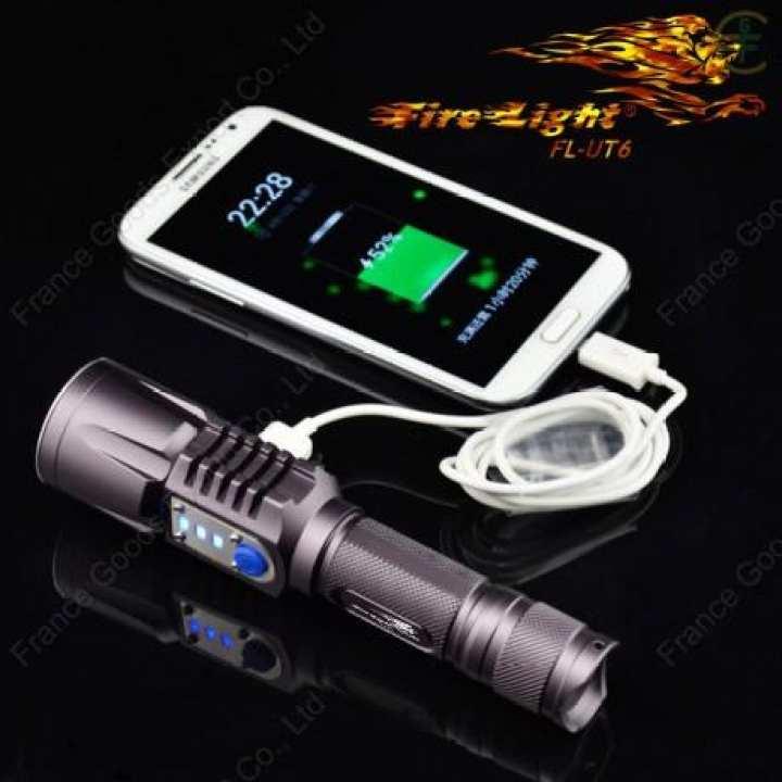 """FL-UT6 O2 FireLight"" Tactical Flashlight-Power Bank, USB charging, XM-L T6 LED, 900 ☼Lumens, ☼100 meters lighting range."