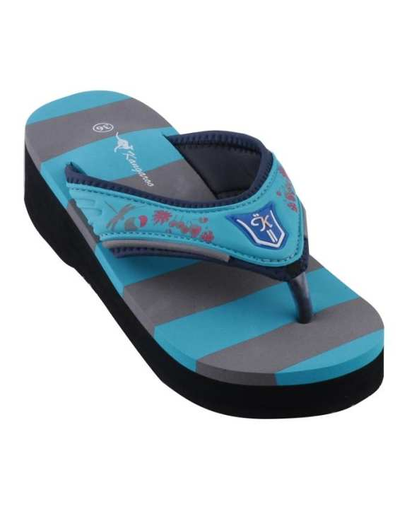 Kangaroo Women's Striped Platform Wedge Flip-Flops - G-Blue