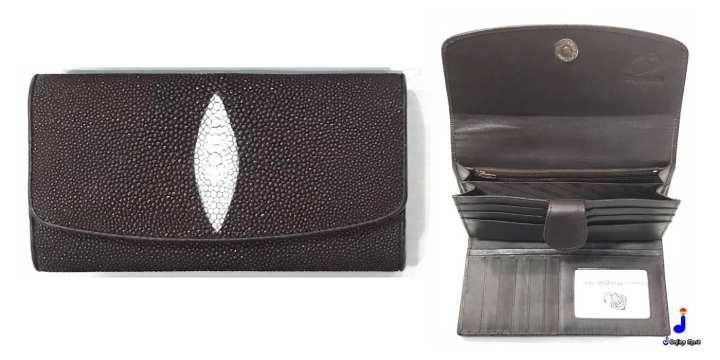 (STING-002) Genuine Stingray Skin Horizontal Tri fold Leather Clutch Wallet Purse