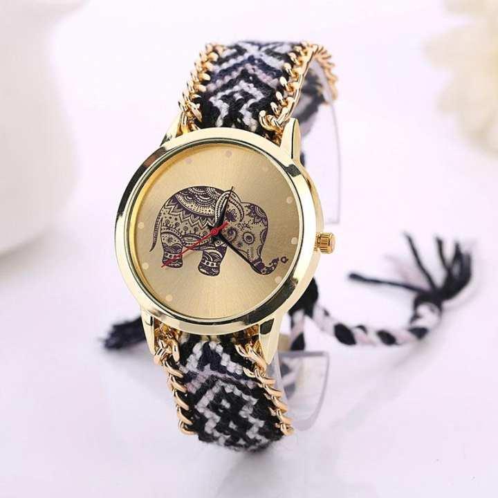 FashionieStore Ladies wristwatch Elephant Pattern Weaved Rope Band Bracelet Quartz Dial Watch BK+WH