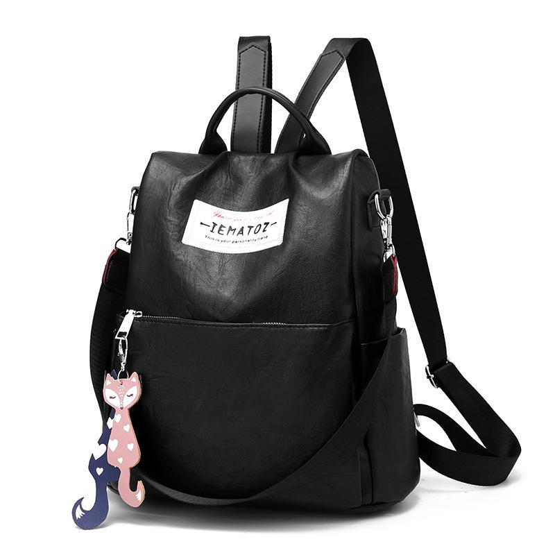 74a6d659424 Quality Leather Backpack Women Design Fox Pendant School Bag 2019 New  Fashion Oxford Canvas Travel Bag Ladies Backpack