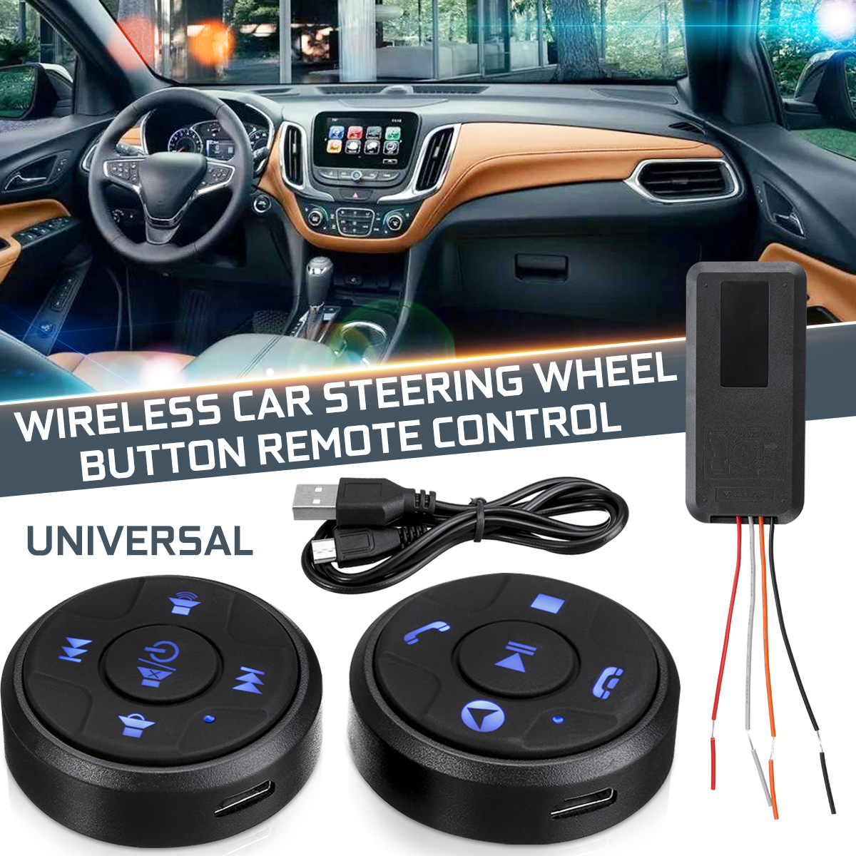 2pcs Universal Wireless Car Steering Wheel Button Remote Control With Night Light For Car Stereo Dvd Gps Buy Online At Best Prices In Myanmar Shop Com Mm