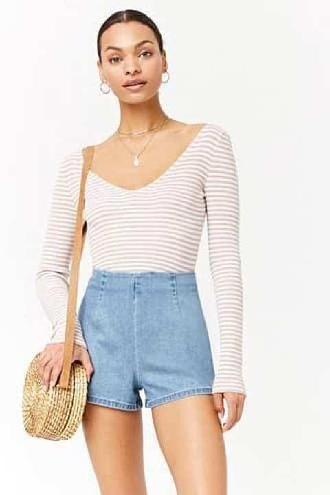 Forever21 summer dress striped deep V-neck umbilical sweater sweater women