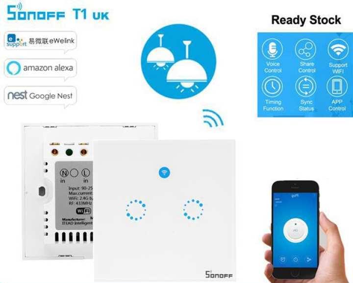 WiFi & RF Smart Touch Light Wall Switch (2 Gangs)