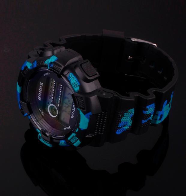 Product details of Men's wristwatch Men Waterproof LED Digital Date Military Sport Rubber Quartz Watch Alarm BK