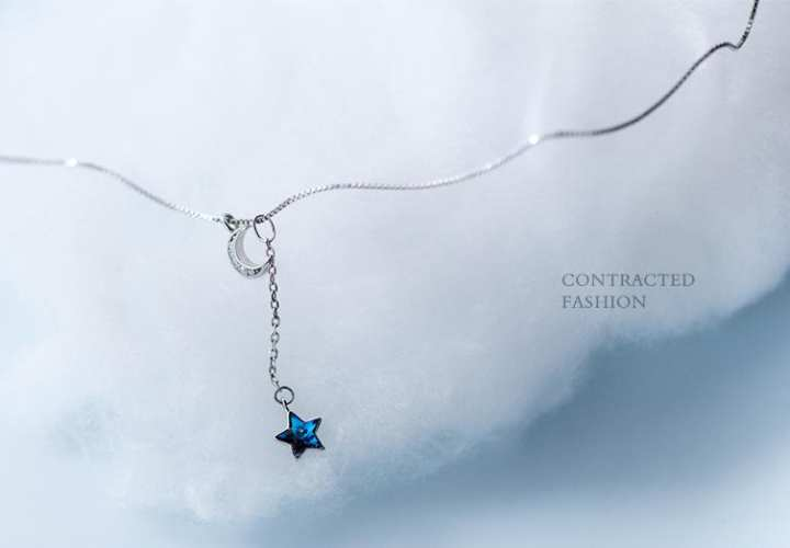 N9 fashion blue diamond star and moon necklace