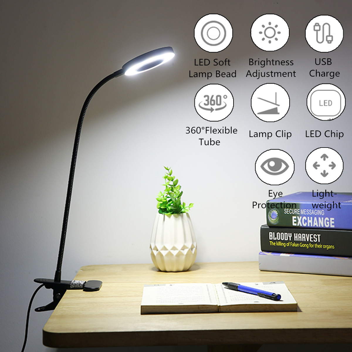 Creative 7w Led Usb Dimmable Clip On Work Reading Light Eye Care Desk Lamp 6w Led Usb Dimmable Clip On Reading Light Eye Care Desk Lamp For Bed Headboard Buy Online At Best Prices