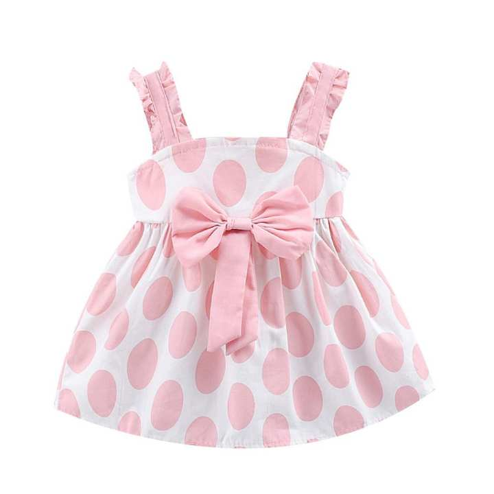 Rainbowroom Toddler Baby Girls Kids Strap Bow Dot Print Summer Dress Princess Dresses