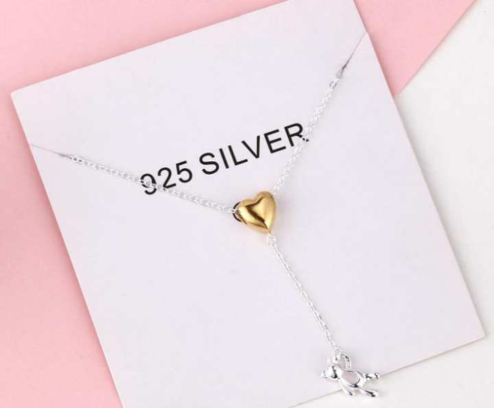 N9 Korea Chic style 4 925 gold heart necklace