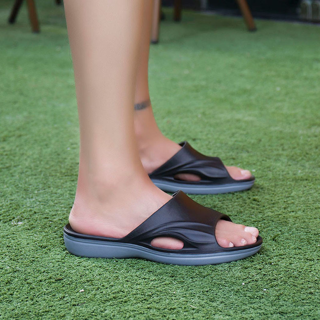 Mens Beach Slippers Solid Hook Hollow Out Casual Breathable comfortable Flats Sandals Shoes