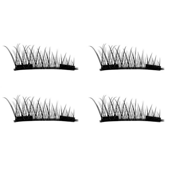 4PCS/2 Pairs Natural Thick Eye Lashes Glue-free 3D Magnetic False Eyelashes