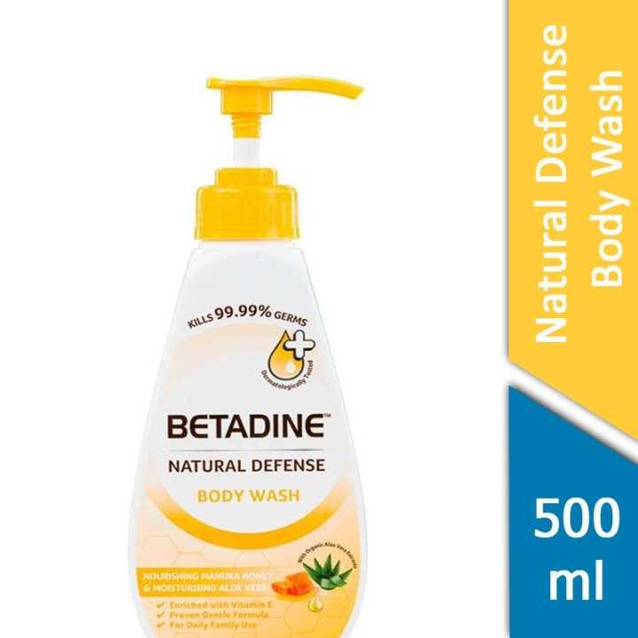 Betadine Natural Defense Body Wash Nourishing Manuka Honey and Moisturising Aloe Vera 500ml