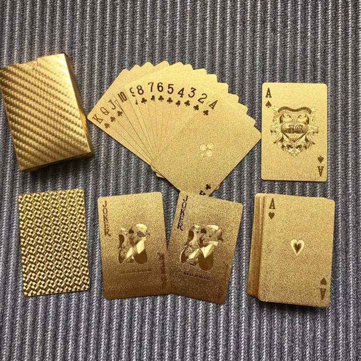 Waterproof Golden Playing Cards Durable Use Gold Foil Poker Playing Cards