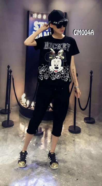 P&M Mickey Mouse T Shirt Disney Text Head Logo Official Womens New Grey Skinny Fit(GM004B)