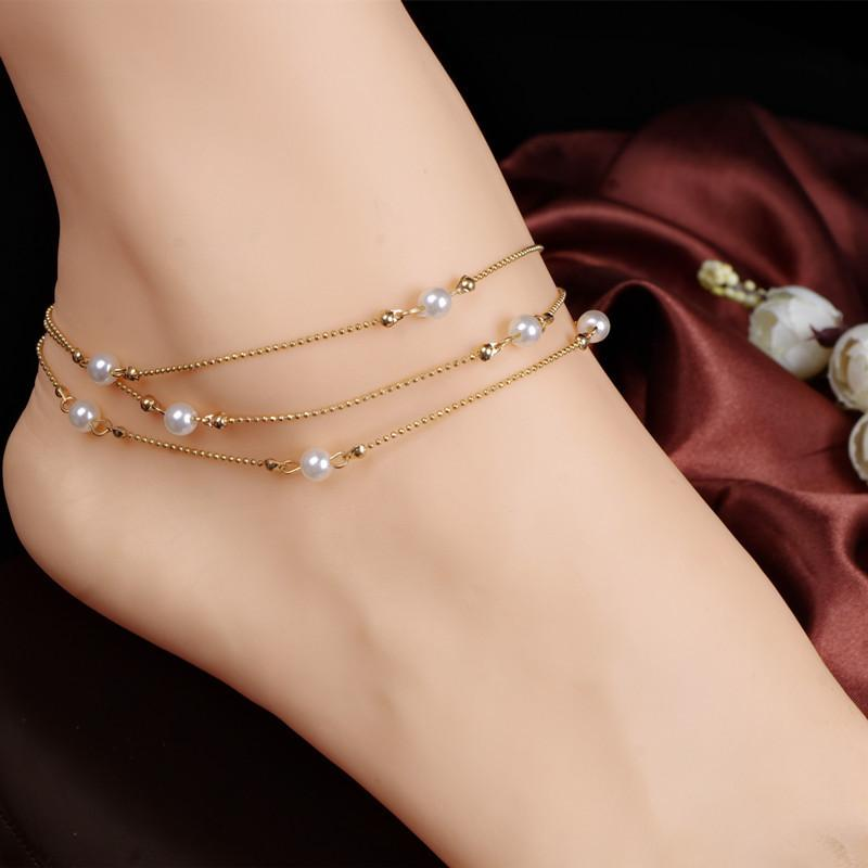 Gold plate floating LOVE Heart double chain ANKLET beach barefoot foot jewellery