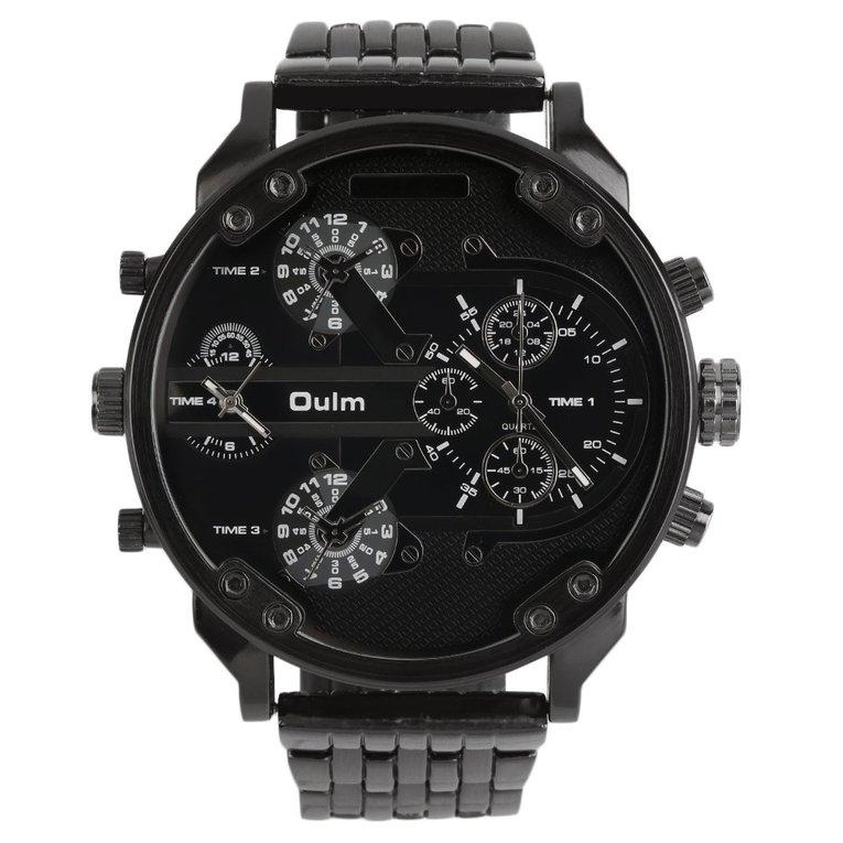 76e958310 Oulm Men's 2 Movement Big Dial Stainless Steel Strap Sports Wrist Watch 3548