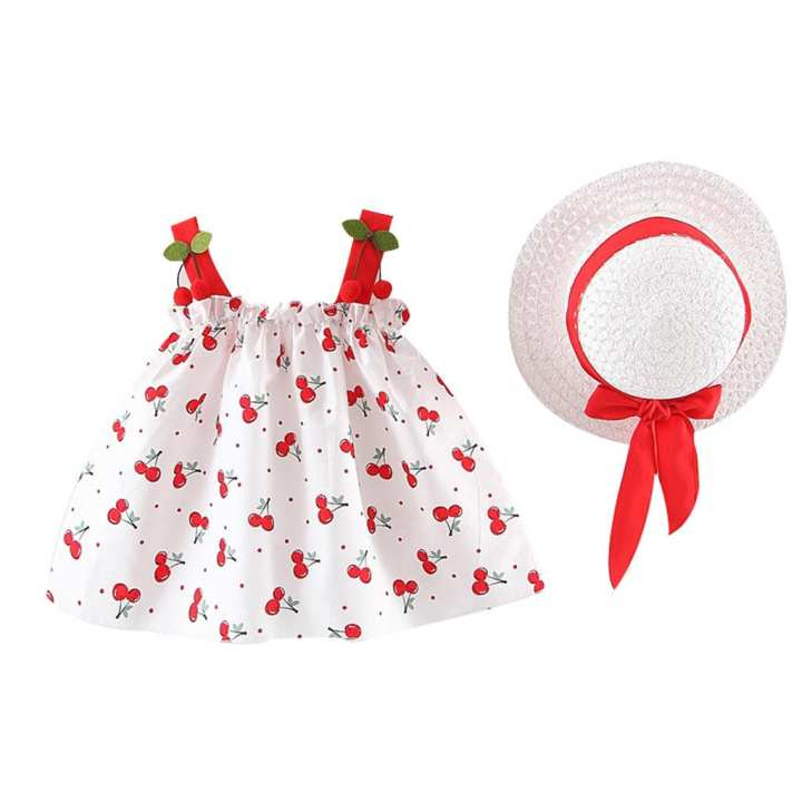 Rainbowroom Toddler Baby Kids Girls Strap Cherry Ruched Princess Dress Casual Clothes Hat