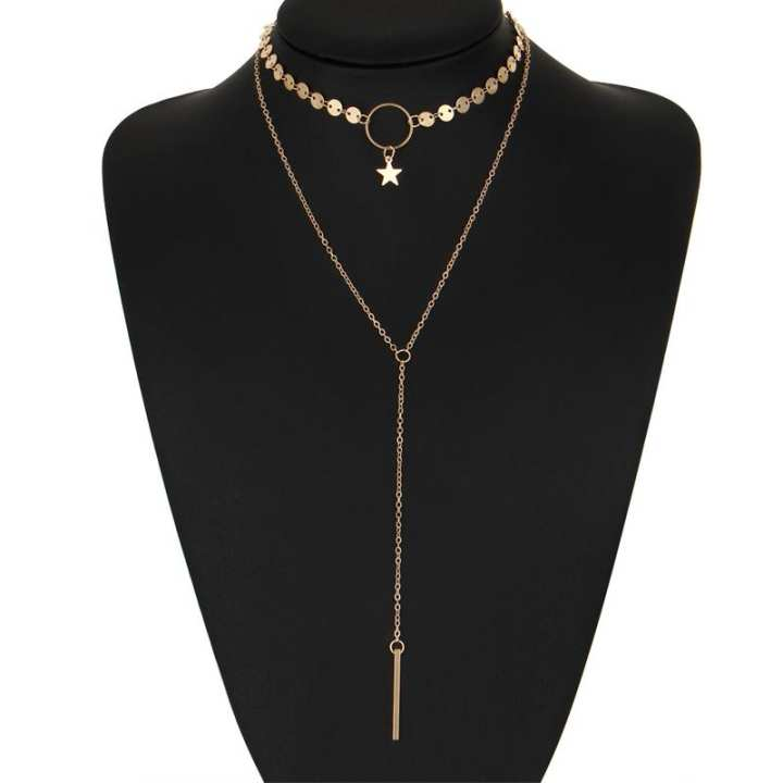 Simple Sexy Handmade Sequins Star Tassels Circle Clavicle Chain Long Pendant Double-layer Chain(Gold)
