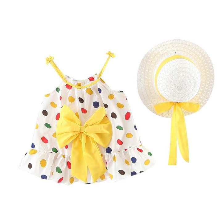Rainbowroom Toddler Baby Kids Girls Strap Floral Ruched Bow Dot Princess Dress Clothes Hat
