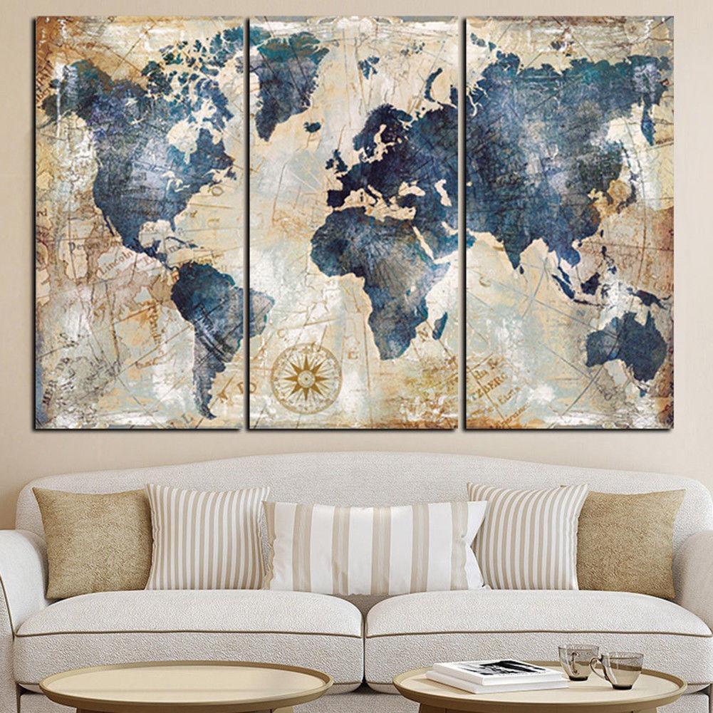 Mango 3Pcs World Map Modern Wall Canvas Painting Print Home Deco r# Unframed