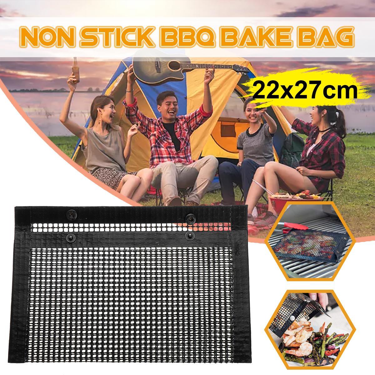 Hot Non-Stick PTFE Mesh Grilling Bag Non-Stick BBQ Bake Bag Outdoor Picnic Tool