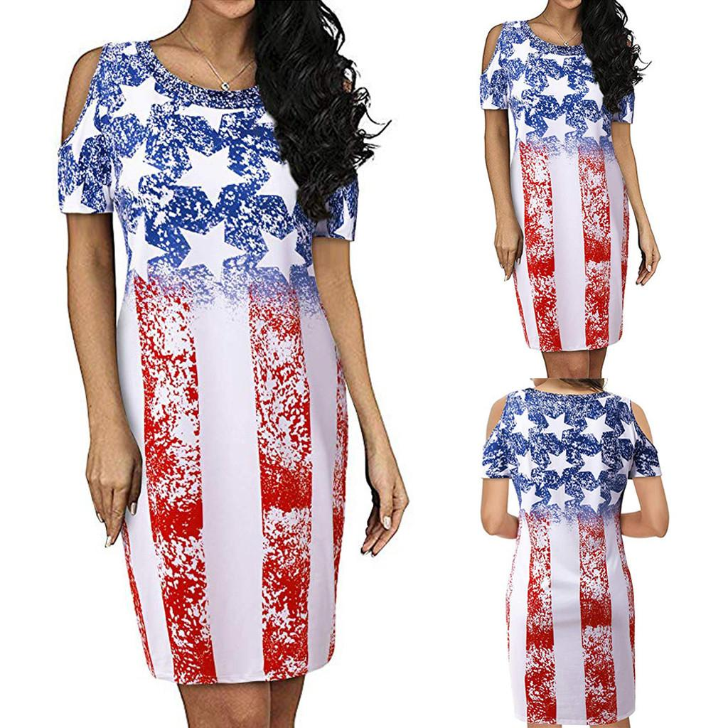 Korean Style Women Round Neck Cold Shoulder Short Sleeve USA Flag Printed  Casual Midi Dress