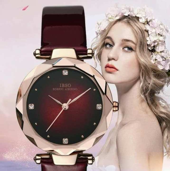 IBSO Fashion Crystal Design Watch For Female Leather Strap Wrist Watches Luxury Ladies Quartz Watch Women Relogio Feminino