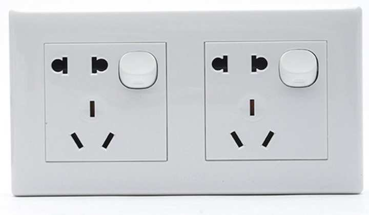 MT 821/9 P2 K2 ( Two Gang One Way Switch with double Two And Three Pole Socket)