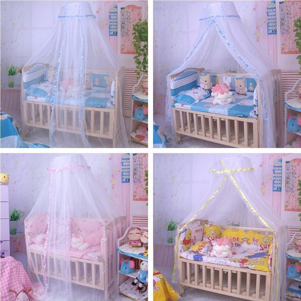 Round Dome Baby Infant Mosquito Net Toddler Bed Crib Canopy Netting White Babe !