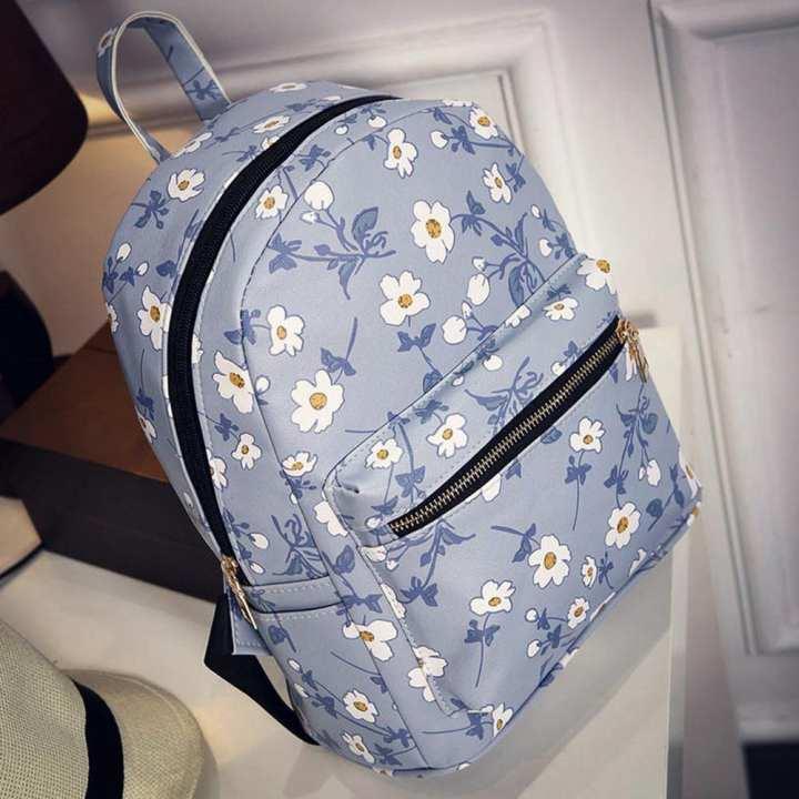 FashionieStore Woman's wallet Bag Women's Leather Floral Printed School Bag Travel Backpack Bag BG