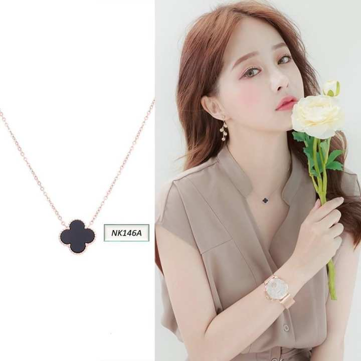A&N Clover Square Titanium Steel Necklace Short Bone Chain Girl Student Chaozhou Jewelry(NK146)