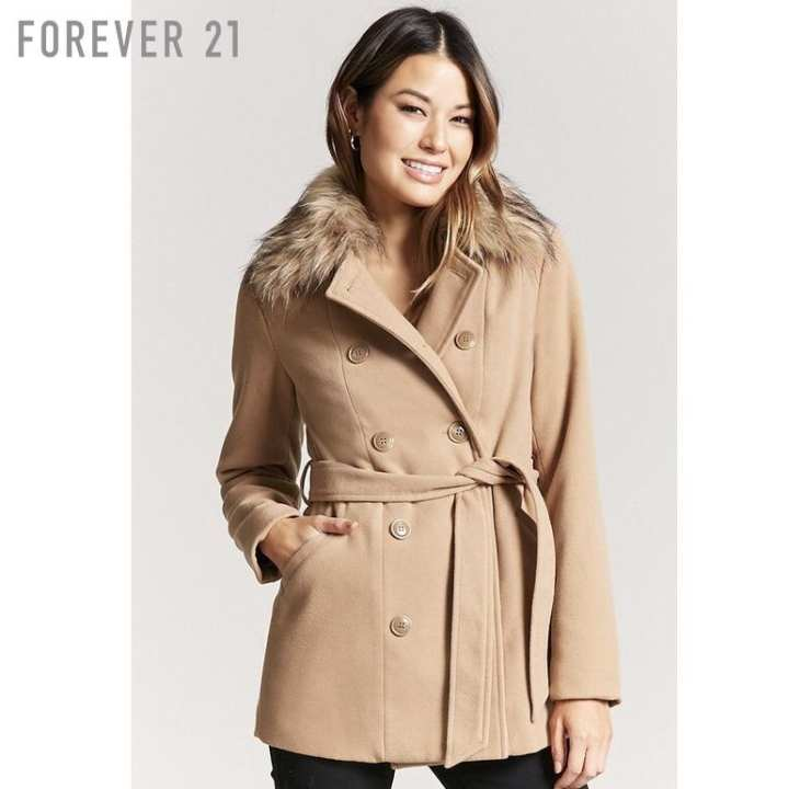 Forever 21 Women's Long Strap Double-Breasted Coat