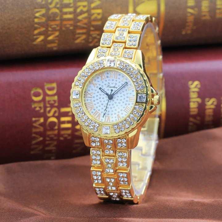 FashionieStore Ladies wristwatch Metal Bracelet Quartz Bracelet Gold Bracelet Crystal Diamond Gold Watch